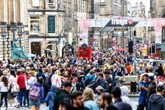 The Royal Mile in Edinburgh during the Fringe Festival 2018.  Stock Image