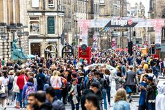 The Royal Mile in Edinburgh during the Fringe Festival 2018.  royalty free stock image