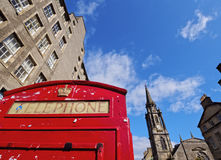 Royal Mile in Edinburgh. UK, Scotland, Edinburgh, Royal Mile, View of the Red Telephone Box and the Tron Kirk Royalty Free Stock Image