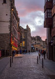 The Royal Mile street at the dusk light Royalty Free Stock Photo