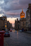The Royal Mile street at the dusk Royalty Free Stock Photography
