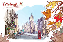Royal Mile street painted sketch. Royal Mile street panorama. Edinburgh, Scotland, the UK. Watercolor imitating painted sketch. EPS10 vector illustration vector illustration