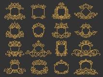 Royal monogram frame. Hand drawn crown emblem, vintage doodle sketch sign and elegant monograms isolated vector set stock illustration