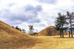 Royal mounds with autumn foliage. Royal mounds of daereungwon under the autumn foliage. Gyeongju, South Korea Royalty Free Stock Images