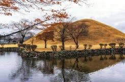 Royal mounds reflection. S on a small pond in daereungwon, gyeongju, south korea Stock Photo