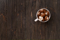 Royal mushrooms in a white mug on a black rustic style. Top view. Stock Images