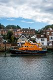 RNLI Earnest and Mabel at Weymouth, Dorset, UK. Royal National Lifeboat Institution lifeboat `Earnest and Mabel` berthed at Weymouth Harbor in Dorset. This royalty free stock photography