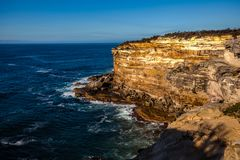 Royal National Park coast, Australia, in the morning. View near Providential Point, Wattamolla stock images