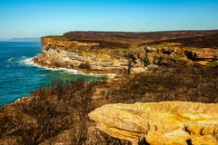Royal National Park coast, Australia, in the morning. View near Providential Point, Wattamolla stock photo
