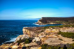 Royal National Park coast, Australia, in the morning. View near Providential Point, Wattamolla royalty free stock image