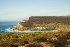 Royal National Park coast in the morning. View between Wattamolla and Curracurrang Royalty Free Stock Photo