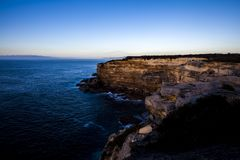 Royal National Park coast at sunrise. View from Providential Point near Wattamolla stock images