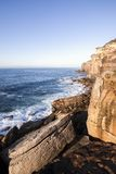 Royal National Park coast at sunrise. View from Providential Point near Wattamolla stock image