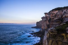 Royal National Park coast at sunrise. View from Providential Point. Near Wattamolla royalty free stock photos