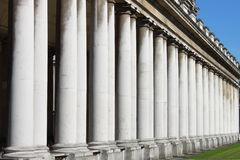Royal Naval College colonnade in Greenwich Royalty Free Stock Images