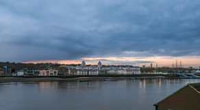 Royal Naval College panorama at dawn. Stock Photos