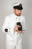 Royal Navy Chief Petty Officer tropical dress WWII royalty free stock photo