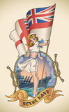 Royal Navy girl. Old-school navy tattoo of a pin-up lady with the Royal Navy flag in her hand. Editable vector illustration Royalty Free Stock Photo