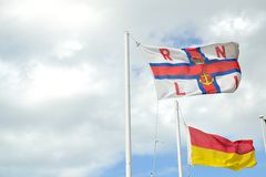 Royal navy lifeboat institution flag, UK Stock Image