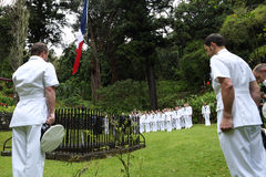 Royal Navy at Napoleons Tomb on St Helena Island Royalty Free Stock Photo