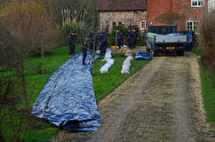 Royal Navy Preparing Flood Defences by River Test, Stock Image