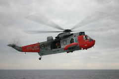 Royal Navy rescue helicopter. On exercise off the coast of Arran Stock Photography