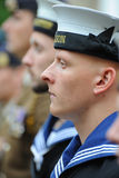 Royal Navy sailor on parade armed forces day Stock Photography