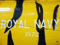 Royal navy signage on helicopter Stock Image