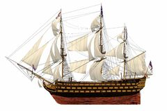 Royal Navy style Tall ship. HMS Royal Navy style Tall ship built-in the 1700's. Isolated clip art cutout Illustration on clean white background. Side view Royalty Free Stock Images