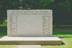 Royal Norfolk Regiment memorial. Royal Norfolk,Suffolk and Cambridgeshire memorial at the national memorial arboretum in Staffordshire UK. The memorial has a Stock Images