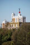 Royal Observatory and hour marker, Greenwich. View of the historic Royal Observatory in Greenwich, London.  The red ball rises and then drops on the exact hour Stock Images