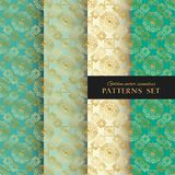Royal ornate vector seamless patterns collection. Oriental gold, blue and mint green backgrounds set. Elegant textures for wallpapers, home textiles and decor royalty free illustration