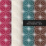 Royal ornate vector seamless patterns collection. Oriental silver backgrounds set. Elegant textures for wallpapers, home textiles and decor stock illustration