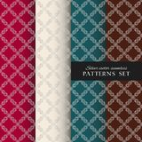 Royal ornate vector seamless patterns collection. Oriental silver backgrounds set. Elegant textures for wallpapers, home textiles and decor vector illustration