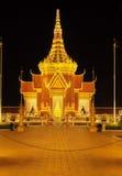 Royal Palace Καμπότζη τη νύχτα, Πνομ Πενχ, Καμπότζη Στοκ φωτογραφία με δικαίωμα ελεύθερης χρήσης