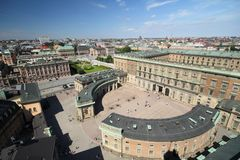 The Royal Palace. Aerial View of The Royal Palace in Stockholm Stock Photos