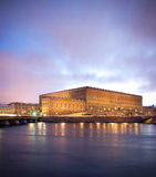 Royal palace. Stockholm royal palace in the winter evening Royalty Free Stock Photography