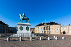 The Royal Palace Amalieborg. Amalienborg is the residence of the Danish Royal Family. The palace is octagonal with a statue of King Frederik V in centre Stock Photography