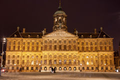 Royal Palace in Amsterdam at Night Stock Images
