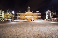 Royal Palace in Amsterdam - night photo Royalty Free Stock Images