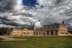 Royal Palace of Aranjuez. With dramatic sky in Spain. Artistic process stock image