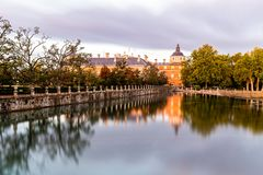 Royal Palace of Aranjuez and reflections on pond stock photography