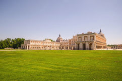 Royal palace of Aranjuez side view. Historic artistic grouping in the province of Madrid, Spain Royalty Free Stock Images