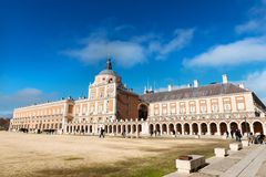 Royal Palace of Aranjuez. Aranjuez, Spain - December 10, 2016: Side view of the Royal Palace of Aranjuez, an official residence of the King of Spain in the Royalty Free Stock Images