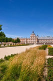 Royal Palace in Aranjuez, Spain. With deep blue sky and the historical square Stock Images