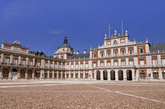 Royal Palace in Aranjuez, Spain. Royal Palace, the square and a deep blue sky in Aranjuez, Spain Stock Photography