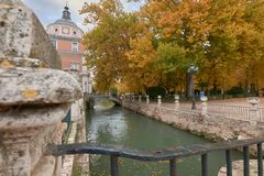 The Royal Palace of Aranjuez and the Tajo river. Madrid. Spain stock images
