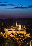 Royal Palace av Buda i natt, Budapest Arkivfoton