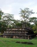 Royal Palace av konungen Parakramabahu i staden Polonnaruwa för världsarv Polonnaruwaen - medeltida huvudstad av Sri Lanka Arkivfoto