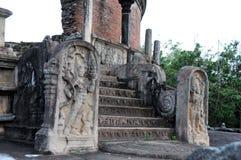 Royal Palace av konungen Parakramabahu i staden Polonnaruwa för världsarv Polonnaruwaen - medeltida huvudstad av Sri Lanka Arkivbild
